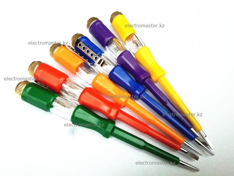 Корпус индикатора напряжения имеет шесть расцветок на любой вкус (синий, красный, зеленый, оранжевый, желтый, фиолетовый)