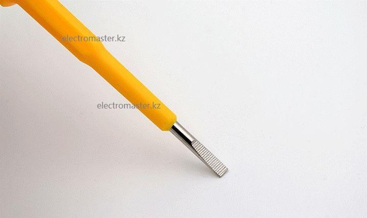 Кончик индикатора досточно твердый, позволяющий использовать тестор в качестве обычной отвёртки в разумных пределах