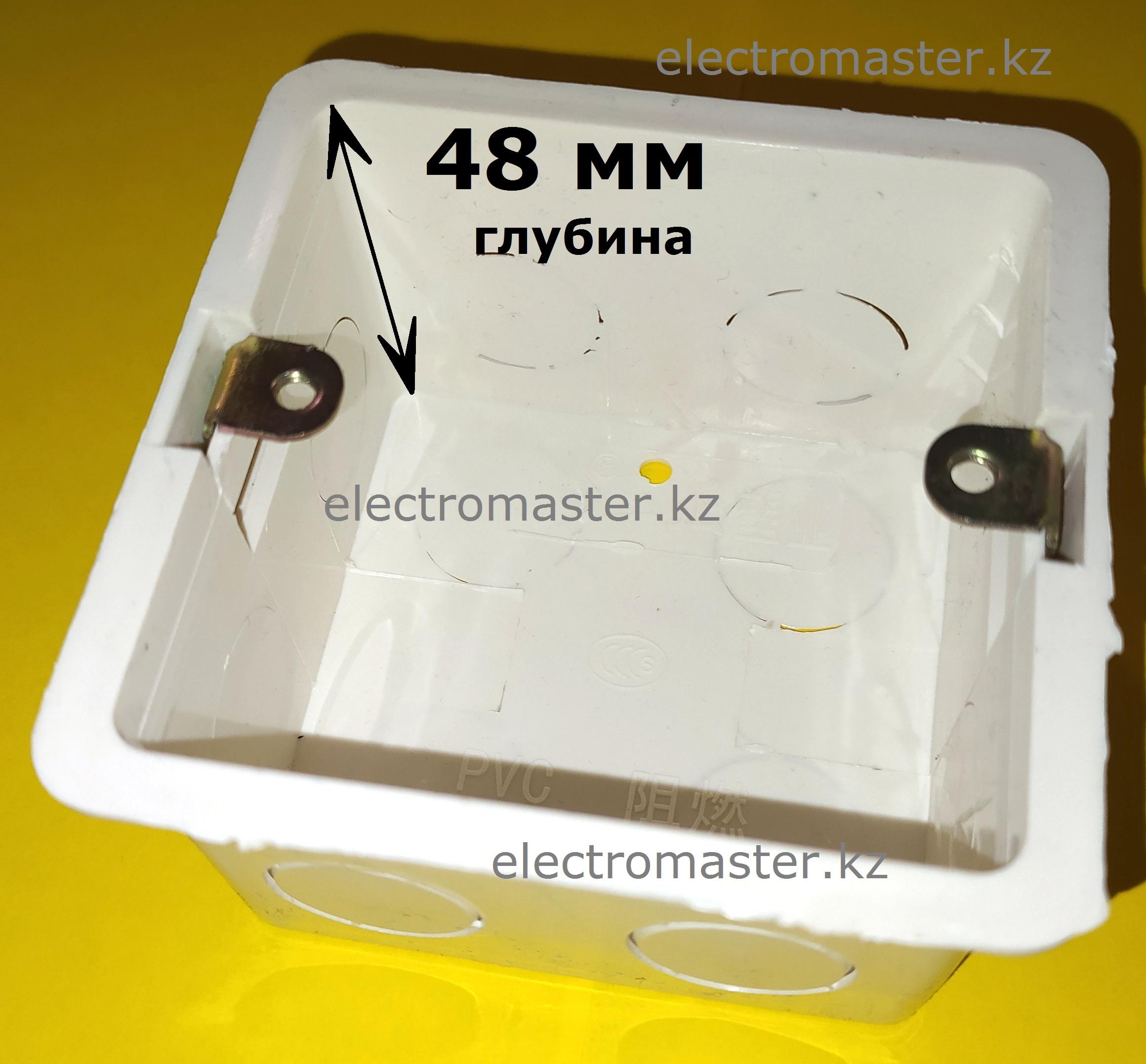 Глубина квадратного подрозетника, стандарта 86х86 - 48 мм, позволяет разместить в нем любое электротехническое изделие