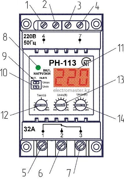 Лицевая панель реле напряжения РН113